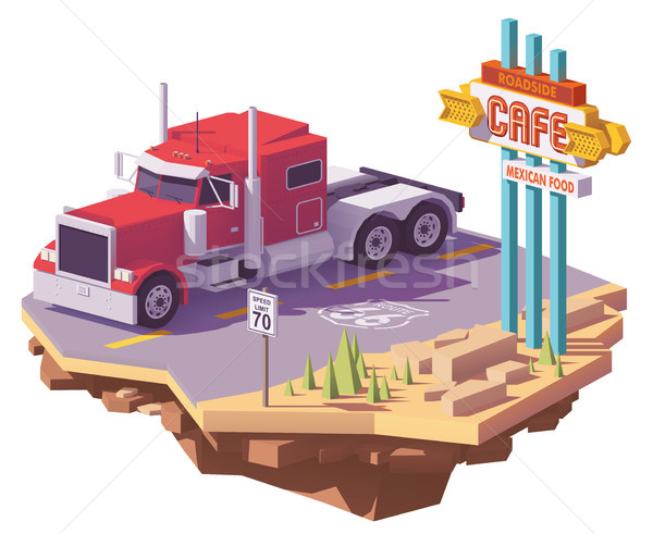 Vector low poly american classic semi truck Stock photo © tele52