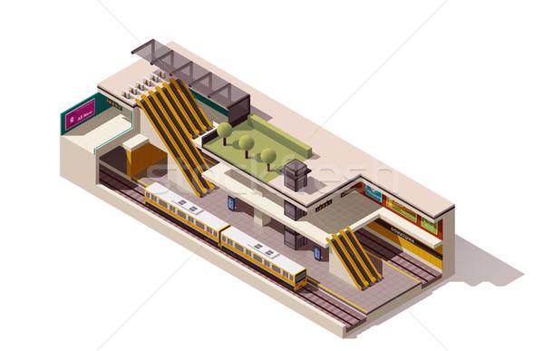 Vektor izometrikus metró állomás keresztmetszet ikon Stock fotó © tele52