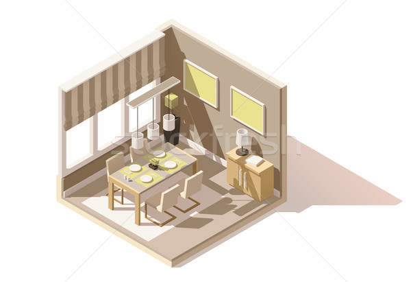 Vector isometric low poly dining room icon Stock photo © tele52