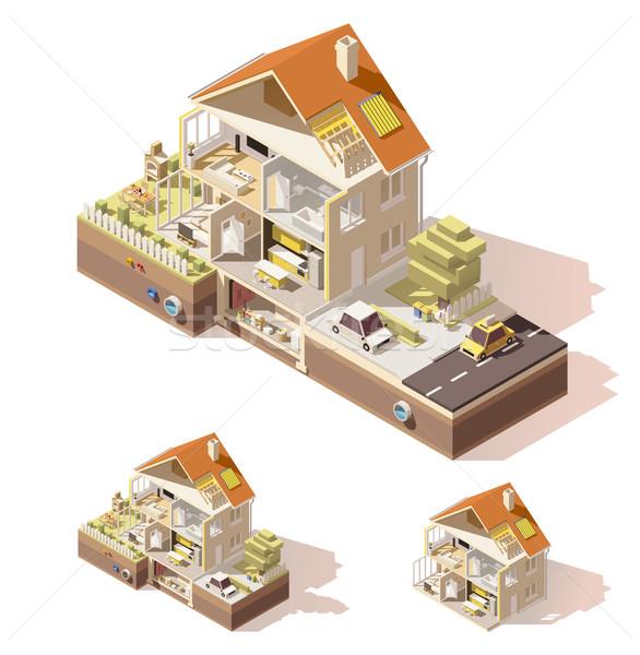 Vektor izometrikus alacsony ház zsakett épület Stock fotó © tele52