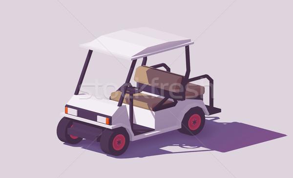 Vektör düşük golf araba klasik beyaz Stok fotoğraf © tele52