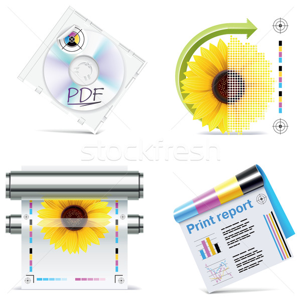 Vector print shop icon set. Part 6 Stock photo © tele52