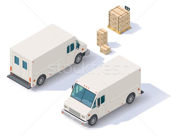 Vektor izometrikus kisteherautó bank lépés furgon Stock fotó © tele52