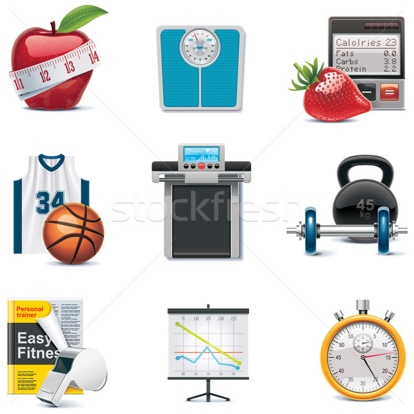Vector fitness icon set Stock photo © tele52
