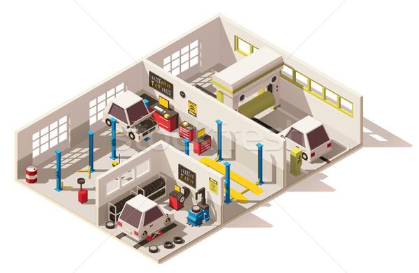 Vektor izometrikus alacsony autó szolgáltatás központ Stock fotó © tele52