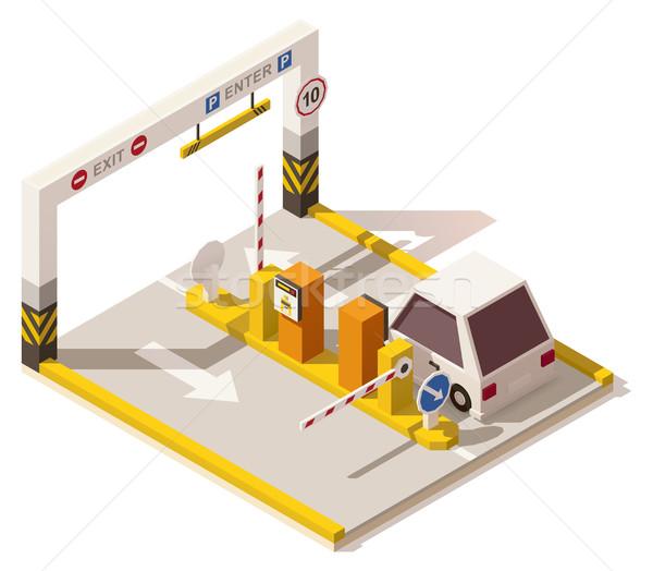 Сток-фото: вектора · изометрический · низкий · автомобилей · стоянки · вход