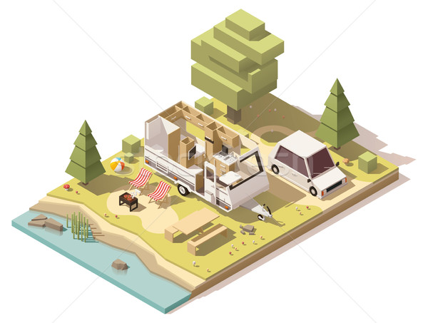 Vector isometric low poly camper in campsite Stock photo © tele52
