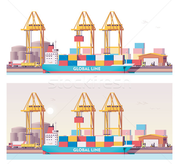Stockfoto: Vector · laag · vracht · haven · containerschip · kaart