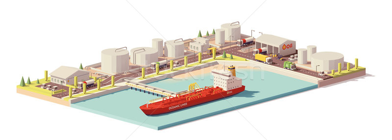 Vector low poly oil depot and oil tanker ship Stock photo © tele52