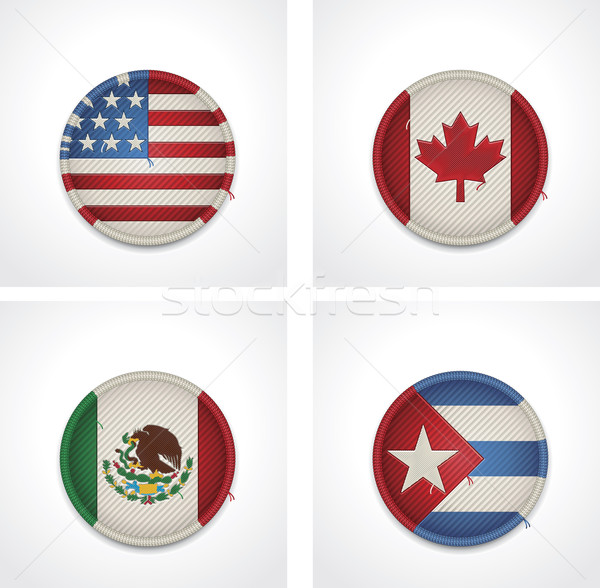 Vector flags of countries as fabric badges Stock photo © tele52