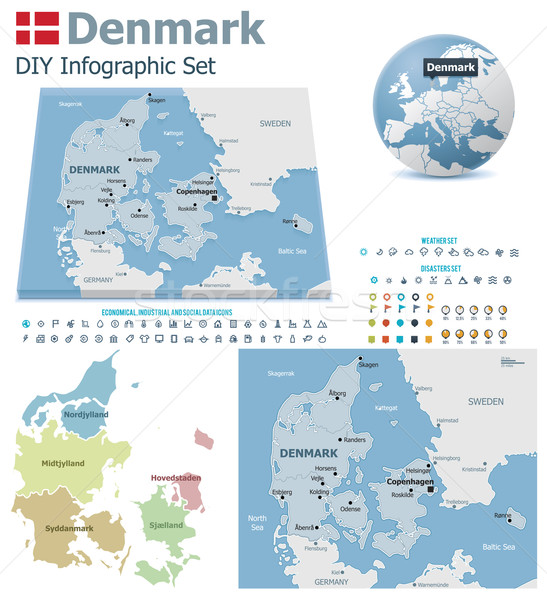 Denmark maps with markers Stock photo © tele52