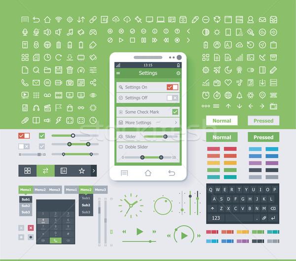 Besturingssysteem interface communie ingesteld eenvoudige mobiele Stockfoto © tele52
