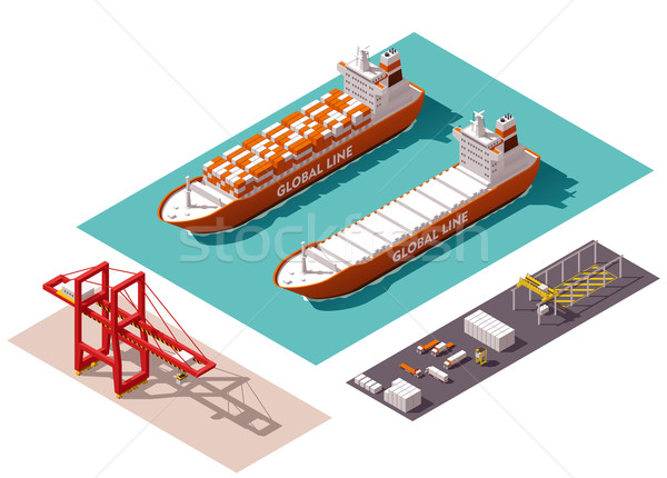 Vector isometric cargo port elements Stock photo © tele52