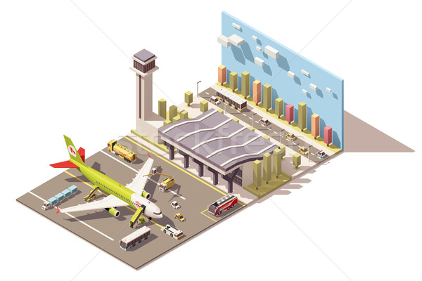 Vector isometric low poly airport terminal building with airplane and Ground Support Equipment Stock photo © tele52