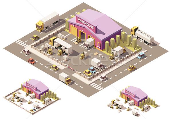 Vector isometric low poly warehouse building icon Stock photo © tele52