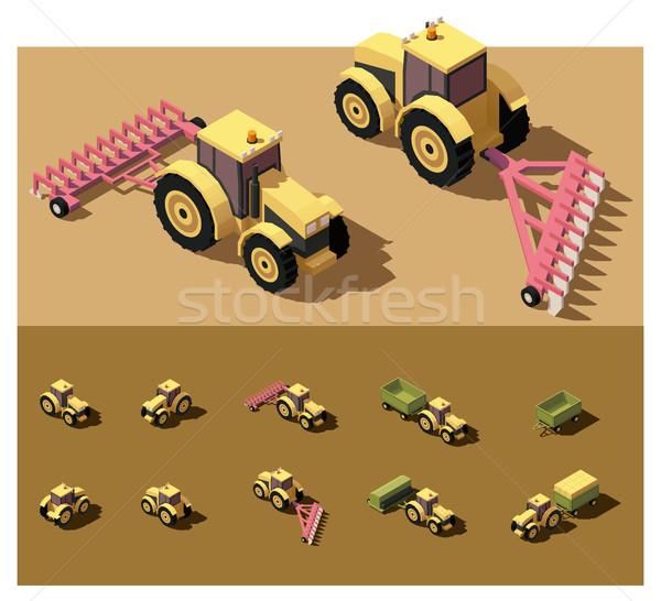 Vektör izometrik düşük traktör çalışma alan Stok fotoğraf © tele52