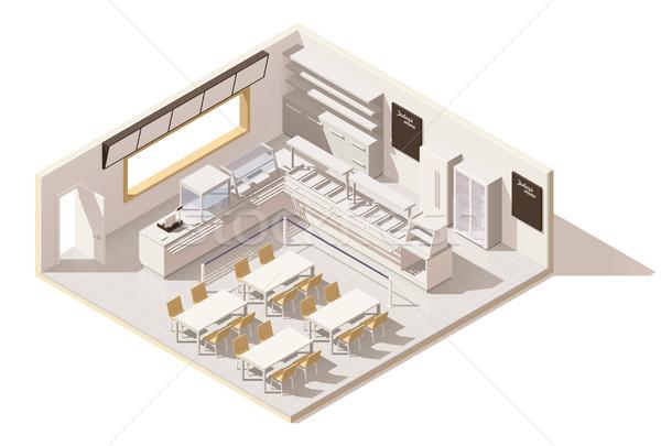 Vektor izometrikus alacsony szolgáltatás étterem büfé Stock fotó © tele52