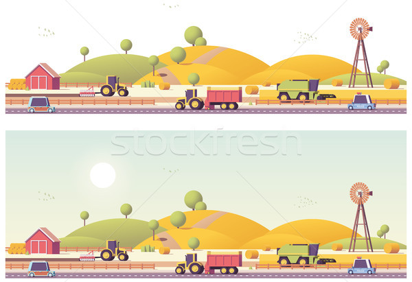 Stock photo: Vector low poly farm field works