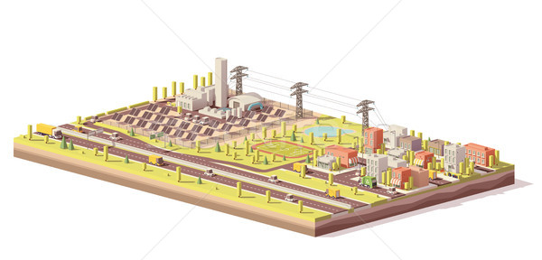Vector low poly solar power plant and city Stock photo © tele52