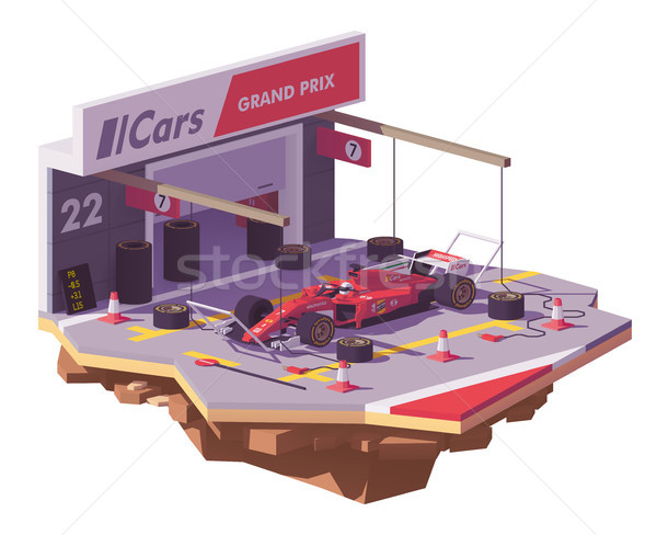 Vector low poly racing car and pit stop Stock photo © tele52