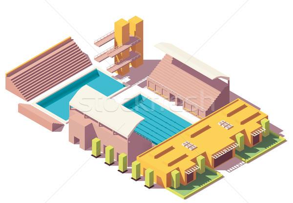 Vektör izometrik düşük yüzme havuzu dalış Stok fotoğraf © tele52