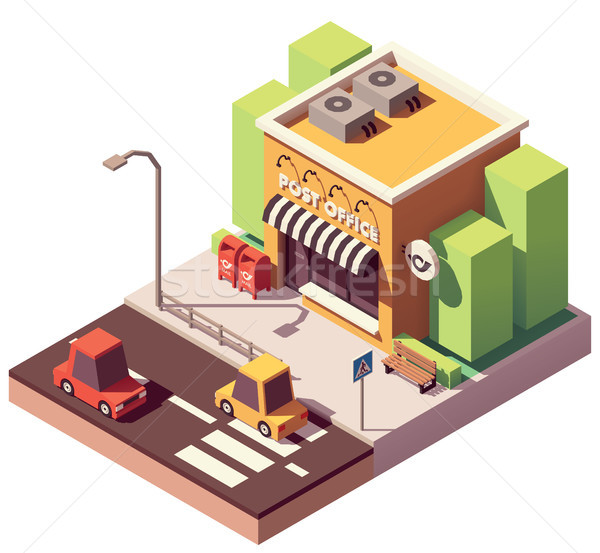 Vecteur isométrique bureau de poste bâtiment bureau maison Photo stock © tele52