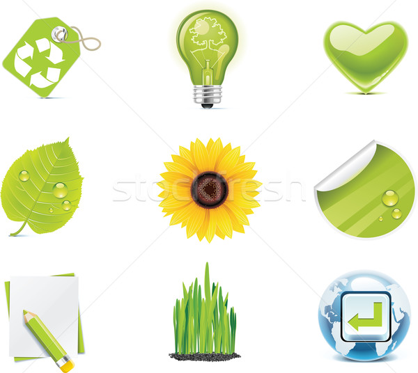 Vector ecology icon set. Part 4 Stock photo © tele52