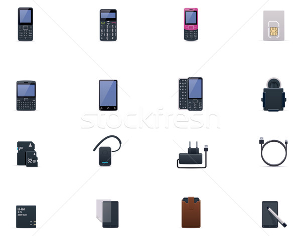 Vector cell phones and accessories icon set Stock photo © tele52