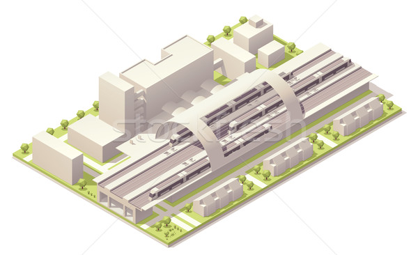 Isometric modern train station Stock photo © tele52