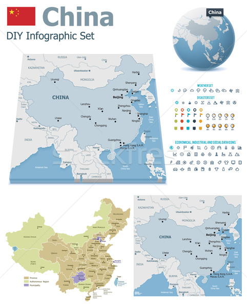 China maps with markers Stock photo © tele52