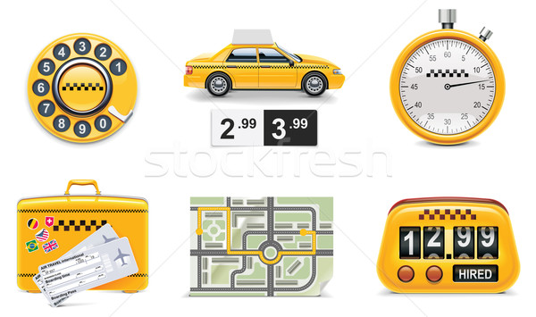 Vector taxi and transportation service icon set. part 1 Stock photo © tele52