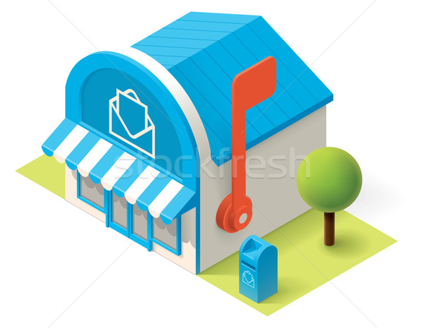 Wektora izometryczny poczta budynku ikona biuro Zdjęcia stock © tele52