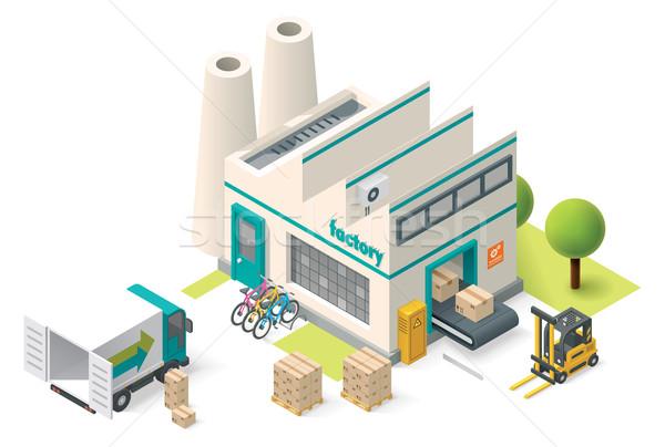 Vektor izometrikus gyár épület ikon iroda Stock fotó © tele52