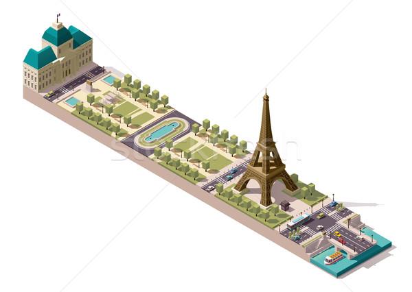 Vektor izometrikus térkép Párizs egyszerűsített mező Stock fotó © tele52