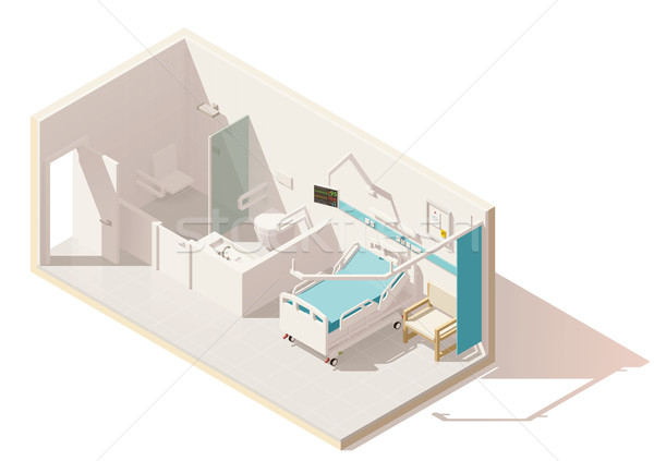 Vector isometric low poly hospital ward Stock photo © tele52