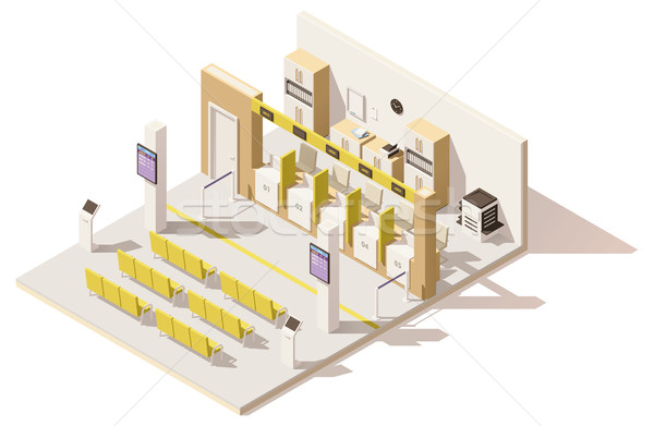 Vector isometric low poly visa application center Stock photo © tele52