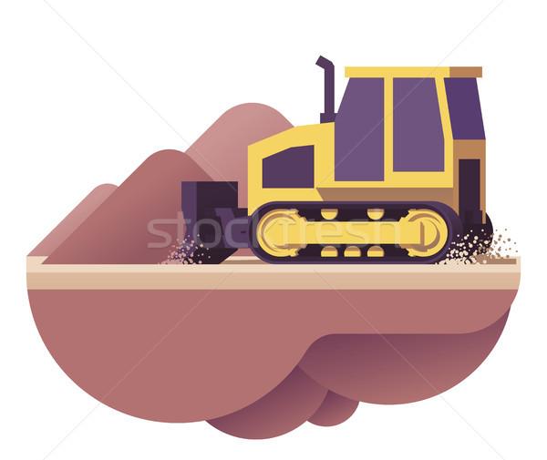 Vector excavadora icono bajo movimiento suciedad Foto stock © tele52