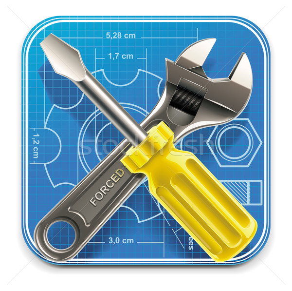 Stock photo: Vector wrench and screwdriver on blueprint XXL icon