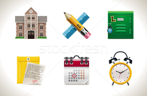 Vector school icons. Part 1 Stock photo © tele52