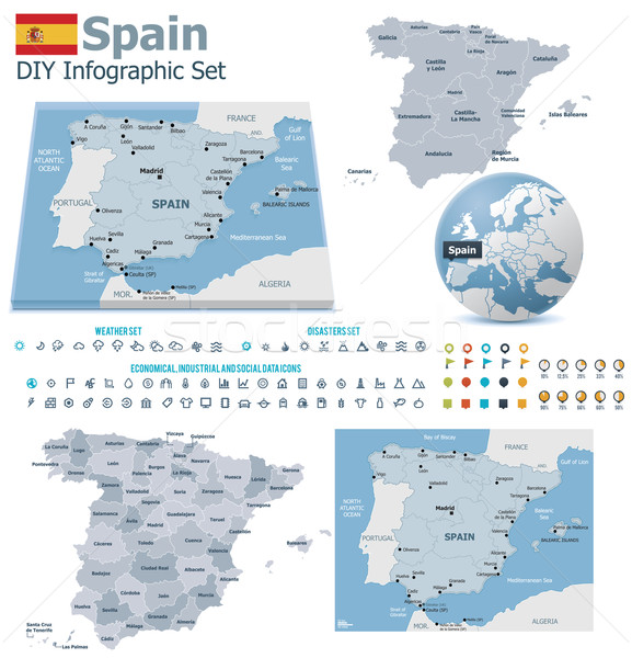 Spain maps with markers Stock photo © tele52