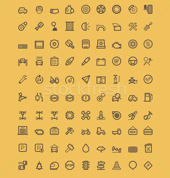 Stock fotó: Autó · ikon · gyűjtemény · szett · egyszerű · bicikli · utazás