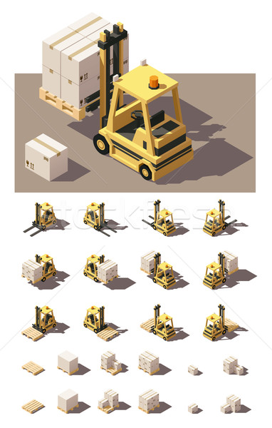 Vector isometric forklift with crates and pallets icon set Stock photo © tele52