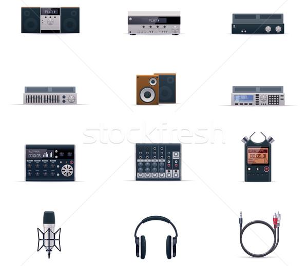 Foto stock: Vetor · Áudio · eletrônica · conjunto · tecnologia