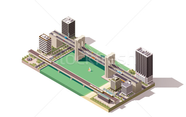 ベクトル アイソメトリック 市 地図 川 橋 ストックフォト © tele52