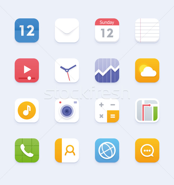 Vector generic smartphone or tablet user interface icon set Stock photo © tele52