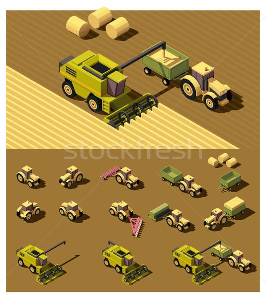 Vector isometrische laag agrarisch machines trekker Stockfoto © tele52