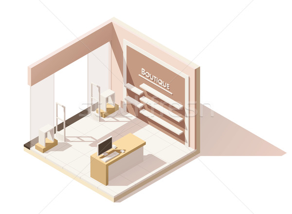 Vector isometric low poly boutique cutaway icon Stock photo © tele52