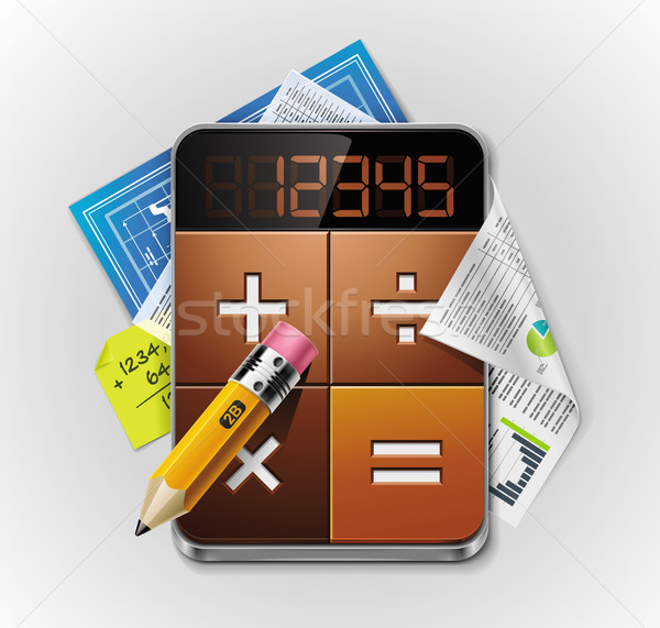 Vector calculator xxl gedetailleerd icon Stockfoto © tele52