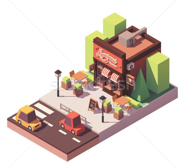 Vector isometrische pizzeria gebouw outdoor business Stockfoto © tele52