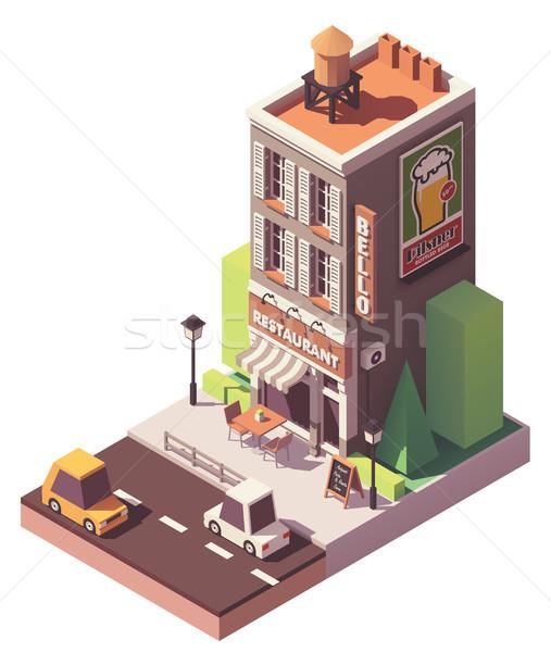 Vector isometric retro restaurant Stock photo © tele52